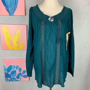 Vintage America teal embroidered boho blouse XL